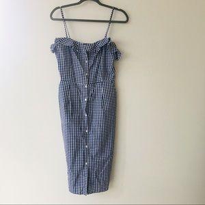 H&M Gingham Blue White Summer Dress Pockets